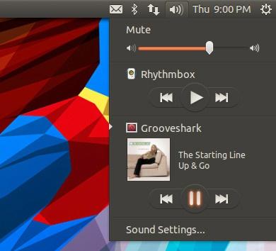 Grooveshark в звуковом меню