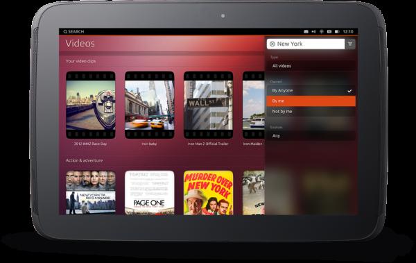 интерфейс планшетной Ubuntu