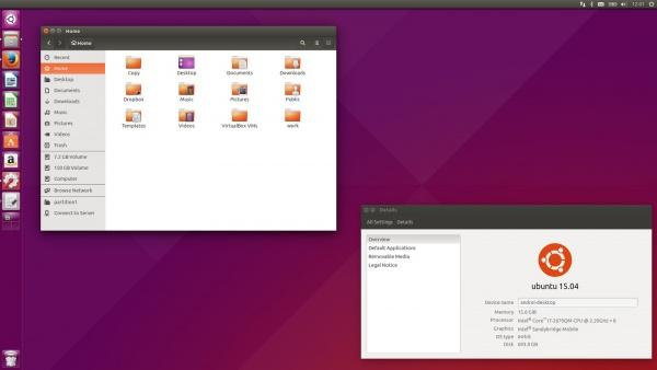 рабочий стол Ubuntu 15.04