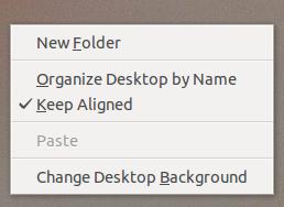Меню по правой кнопке на рабочем столе Nautilus 3.5.2