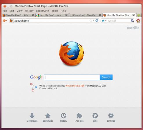 Домашняя страница Firefox 13