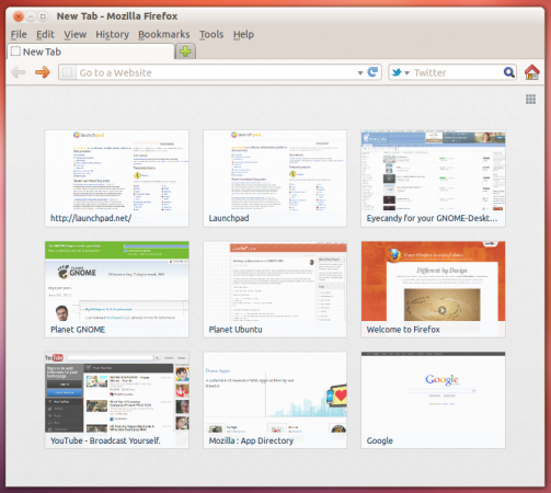 Новая вкладка в Firefox 13