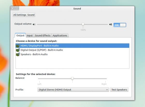 настройка звука в GNOME Control Center 3.6