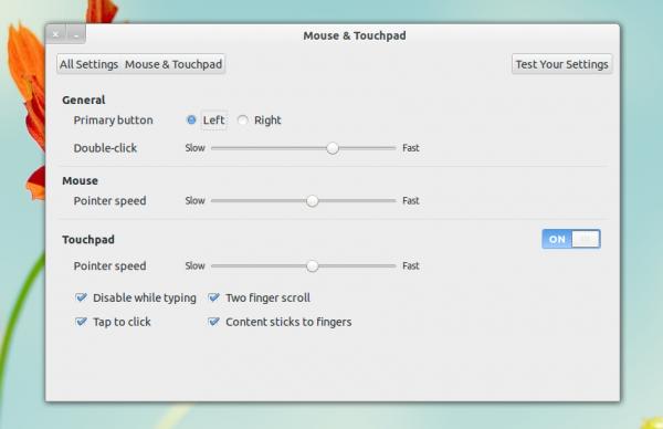 настройка мыши в GNOME Control Center 3.6