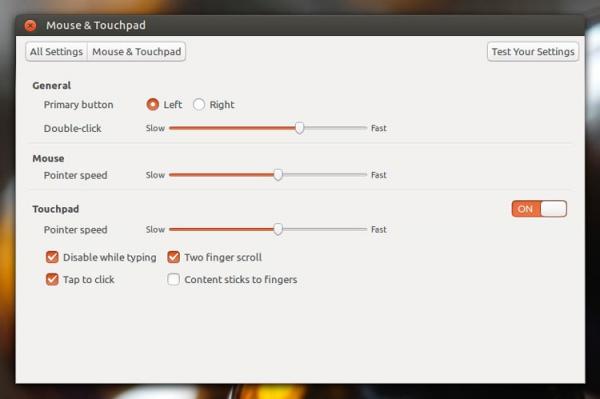 Панель настройки мыши Ubuntu 13.04