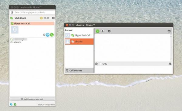 окно Skype для Linux