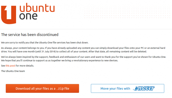 сообщение о закрытии Ubuntu One