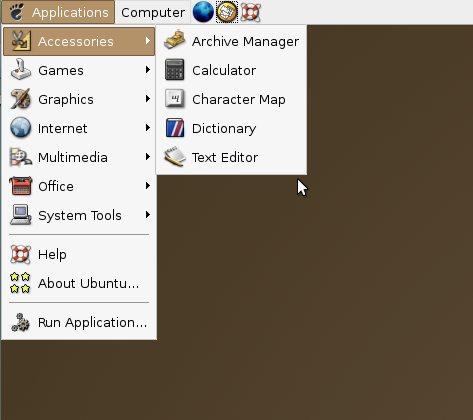 меню Ubuntu 4.10 Warty Warthog
